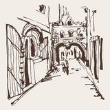 Ink sketching of historic narrow cobbled street in Budva Montene Royalty Free Stock Photos