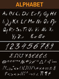 Ink Sketchy Alphabet, Numbers, Math Signs Stock Photography