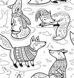 Ink snowy seamless pattern with cartoon foxes in cozy sweaters. Christmas seamless pattern with cute foxes in cozy sweaters in outline. Contour vector texture vector illustration