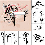 Ink spills, stains and splash. Background and collection of ink spills, stains and splashes Stock Photos