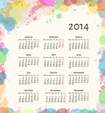 Ink Splash 2014 Calendar Royalty Free Stock Photo
