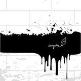 Ink splash, paint spill. Vector black ink, paint splash, spill on white brick wall. Art background Royalty Free Stock Images