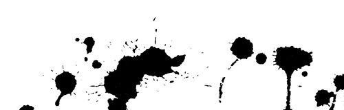 Ink splash, strokes and stains background. Paint splatter. Black blots on white. Abstract black and white vector illustration. Stock Images