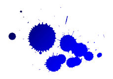 Ink splat. Blue ink splats on isolated background Royalty Free Stock Photos