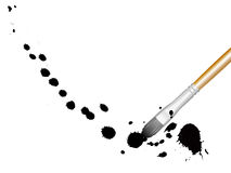 Ink splat Brush. Ink splats grouped with a brush, paint splatters, blood stains Stock Photos