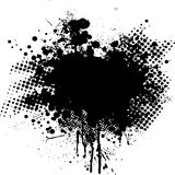 Ink splat dot. Ink splat overlayed by halftone dots in black and white Royalty Free Stock Photo