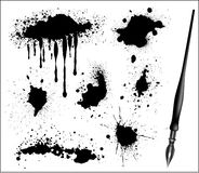 Ink Splat Set and black calligraphic pen. Vector stock illustration