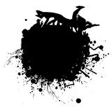 Ink splat surf. Ink splat with people crowd surfing in black and white Royalty Free Stock Image