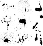 Ink splats. Various detailed ink splats on white background Royalty Free Stock Image
