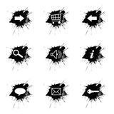 Ink splatter, internet icons set on white background Royalty Free Stock Photography