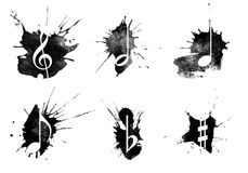 Ink splatter, music icons set on white background Royalty Free Stock Photography