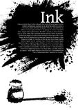 Ink splatter poster. Ink splatter with placeholder text and inkwell and pen Stock Illustration