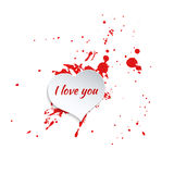 Ink splatter with small drops of red. Royalty Free Stock Images