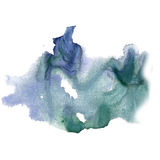 Ink splatter watercolour dye blue green liquid watercolor macro spot blotch texture isolated on white background Stock Photos