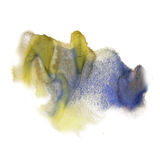 Ink splatter watercolour dye liquid watercolor yellow blue macro spot blotch texture isolated on white background. Ink splatter watercolour dye liquid watercolor Stock Images