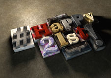 Ink splattered printing wood blocks with grungy Happy 21st typog Royalty Free Stock Photography