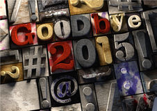 Ink splattered printing wood blocks saying goodbye to the year 2015 and welcome to the new year 2016 Stock Photo
