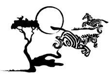 Ink splotch zebras. Black ink splotch zebras with three and sun Stock Photography