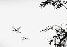 Ink style bamboo and crane Stock Images