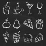 Ink style hand drawn sketch set  - food, drinks, ice cream Stock Image