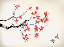 Ink style maple leaves. Chinese painting Stock Photos