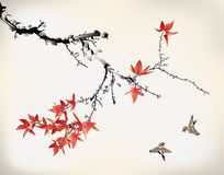 Ink style maple leaves. Chinese painting Royalty Free Stock Photos