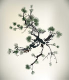 Ink style Pine Tree. Stand alone Royalty Free Stock Photography