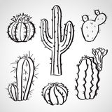 Ink style  sketch set - cactus set Royalty Free Stock Images