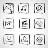 Ink style  sketch set - computer icons Royalty Free Stock Photo