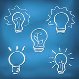 Ink style sketch set - lightbulb icons Royalty Free Stock Images