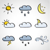 Ink style  sketch set - weather icons Royalty Free Stock Photos