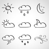 Ink style  sketch set - weather icons Royalty Free Stock Image