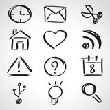 Ink style sketch set - web icons Royalty Free Stock Photography