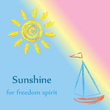 Ink sun and sailboat pattern Stock Photos