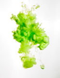 Ink swirl in water isolated on white background. The paint in the water. Soft dissemination a droplets of green ink in Royalty Free Stock Photos