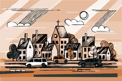Ink urban sketch. Church. Cars. Clouds.Vector hand drawn ink urban sketch. Cityscape in outline style. Postcards design royalty free illustration