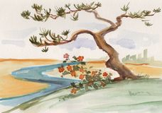 Ink wash painting. Lonely pine near river vector illustration