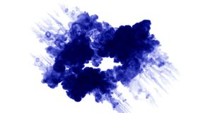 Blue ink in water on white background. 3d animation ink with luma matte as alpha channel for effects or background. a. Ink in water. 3d animation ink with luma royalty free illustration