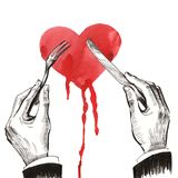 Eating a heart. Ink and watercolor drawing of a hands with knife and fork eating a bleeding heart Royalty Free Stock Image