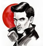 Handsome singer. Ink and watercolor illustration of a handsome retro styled male singer with a microphone stock illustration