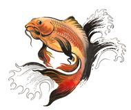 Jumping golden fish. Ink and watercolor illustration of yellow orange golden fish in water Stock Photos