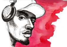 Hip-hop man. Ink and watercolor image of an African American male listening to the hip hop music in headphones Stock Photos