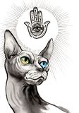 Spinx cat and Horus symbol. Ink and watercolor image of a hairless sphinx cat and Horus symbol Stock Images