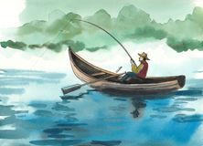 Fishing man. Ink and watercolor sketch of a man with a fishing rod sitting in the boat Stock Images