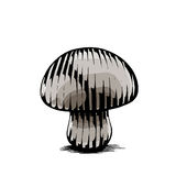Ink and Watercolor Sketch of a Mushroom Stock Photo