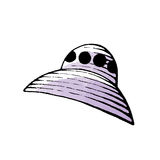 Ink and Watercolor Sketch of a Purple Alien Spaceship Royalty Free Stock Images