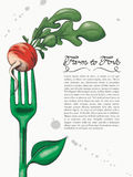 Ink and Watercolor Style Green Fork with Radish Stock Images