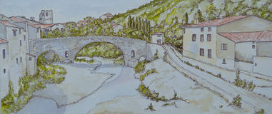 Ink and Watercolour of Lagrasse Stock Photos