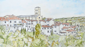Ink and Watercolour of Montolieu Stock Photography