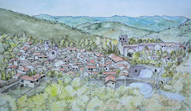 Ink and Watercolour painting of Lagrasse Royalty Free Stock Photography